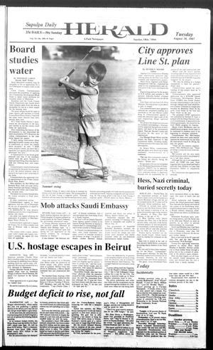 Primary view of Sapulpa Daily Herald (Sapulpa, Okla.), Vol. 73, No. 290, Ed. 1 Tuesday, August 18, 1987