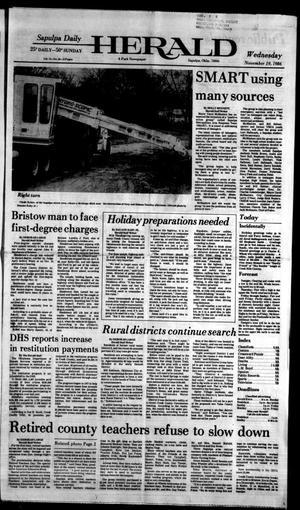 Primary view of Sapulpa Daily Herald (Sapulpa, Okla.), Vol. 73, No. 58, Ed. 1 Wednesday, November 19, 1986