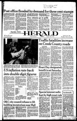 Primary view of Sapulpa Daily Herald (Sapulpa, Okla.), Vol. 67, No. 163, Ed. 1 Tuesday, March 24, 1981
