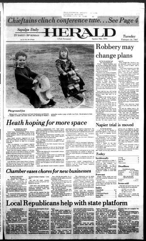Primary view of Sapulpa Daily Herald (Sapulpa, Okla.), Vol. 73, No. 140, Ed. 1 Tuesday, February 24, 1987