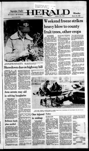 Primary view of Sapulpa Daily Herald (Sapulpa, Okla.), Vol. 73, No. 169, Ed. 1 Monday, March 30, 1987