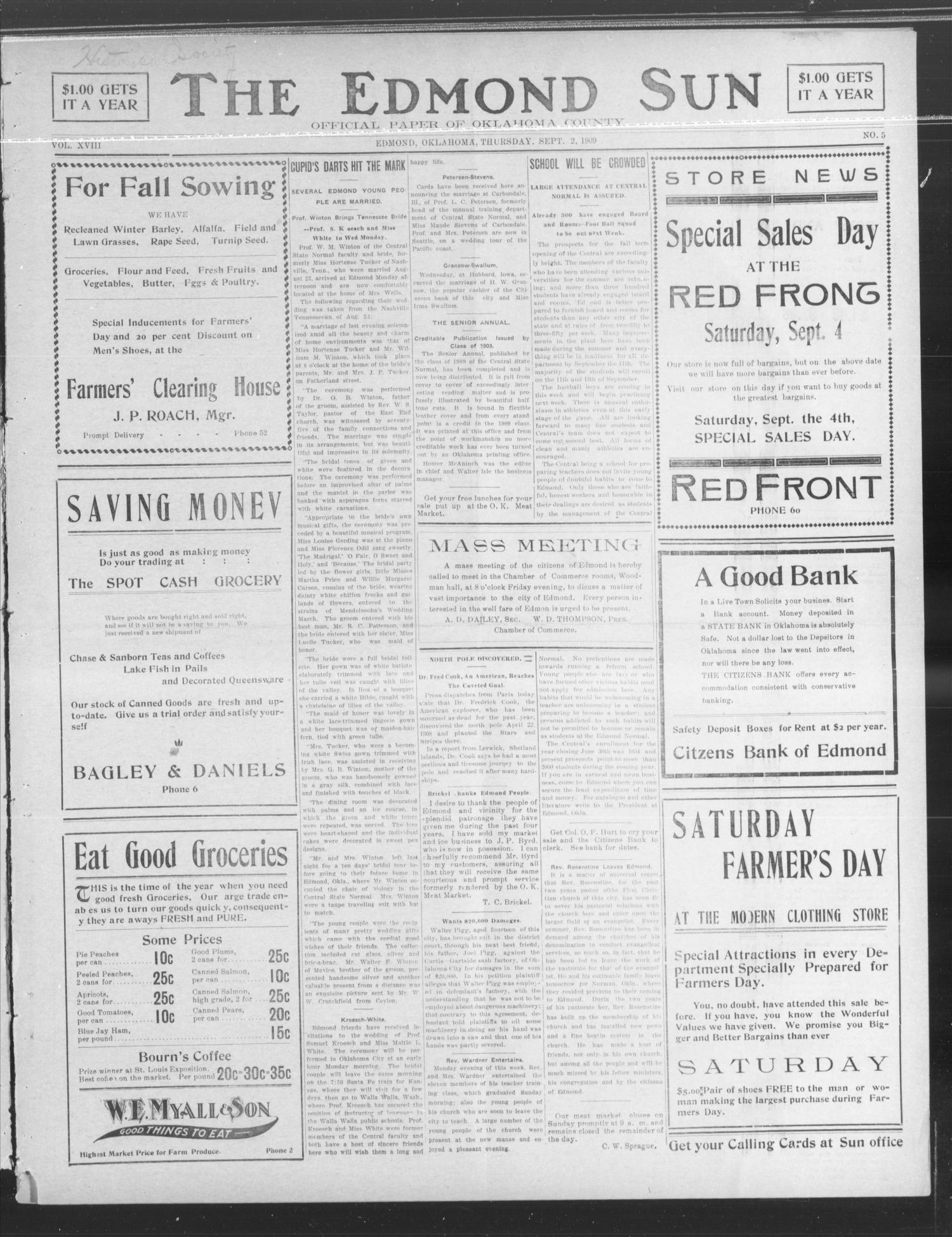 The Edmond Sun (Edmond, Okla.), Vol. 21, No. 5, Ed. 1 Thursday, September 2, 1909                                                                                                      [Sequence #]: 1 of 4