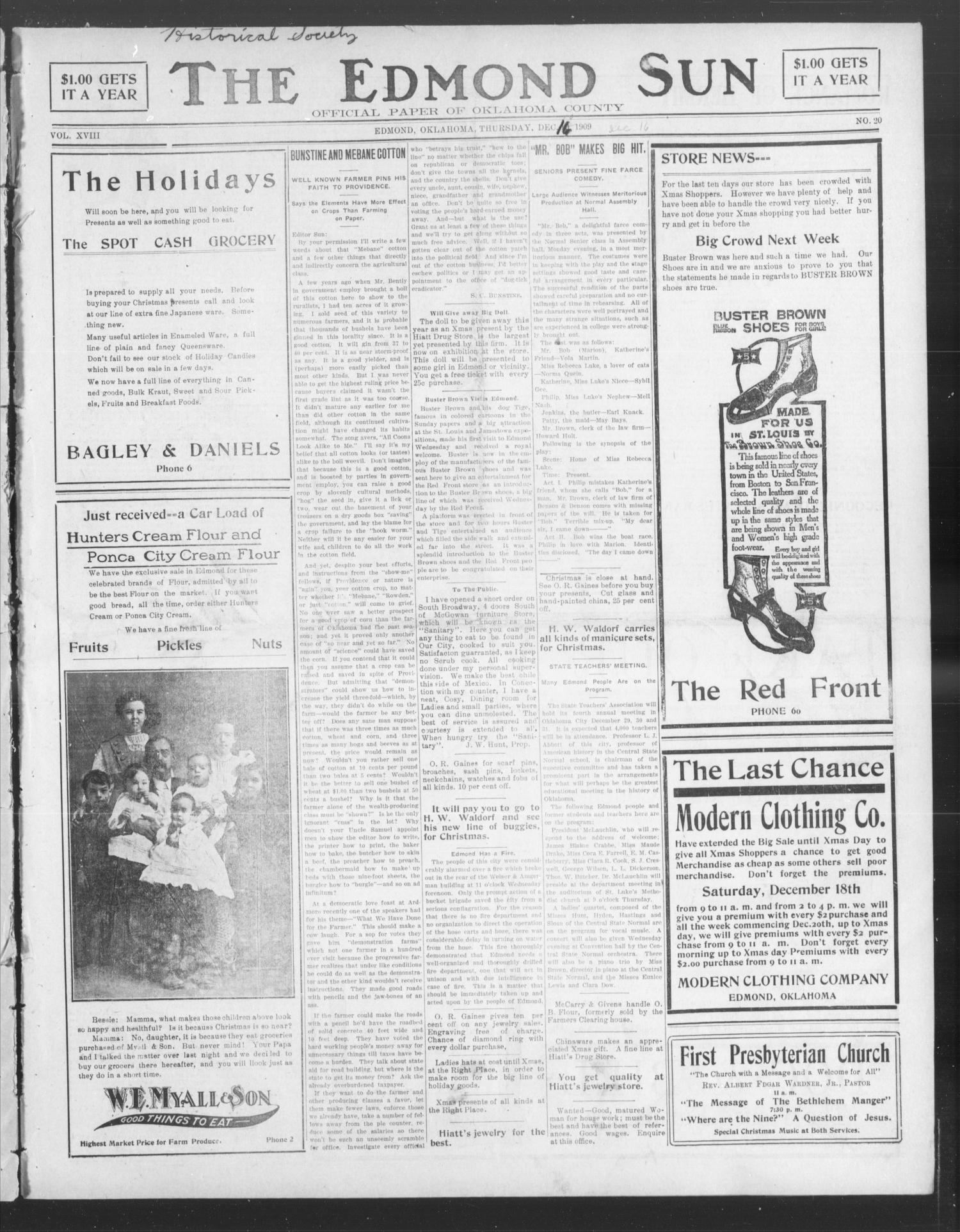 The Edmond Sun (Edmond, Okla.), Vol. 21, No. 20, Ed. 1 Thursday, December 16, 1909                                                                                                      [Sequence #]: 1 of 12