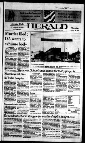 Primary view of Sapulpa Daily Herald (Sapulpa, Okla.), Vol. 72, No. 286, Ed. 1 Thursday, August 14, 1986