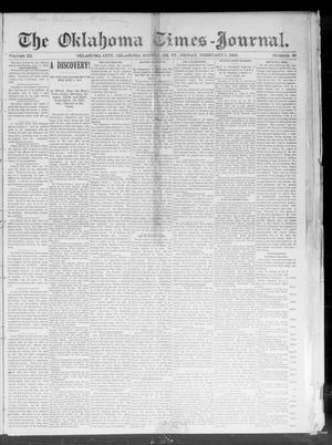 Primary view of object titled 'The Oklahoma Times-Journal. (Oklahoma City, Okla. Terr.), Vol. 3, No. 39, Ed. 1 Friday, February 5, 1892'.