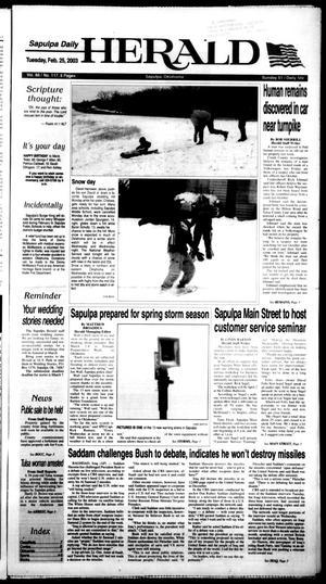 Primary view of Sapulpa Daily Herald (Sapulpa, Okla.), Vol. 88, No. 117, Ed. 1 Tuesday, February 25, 2003