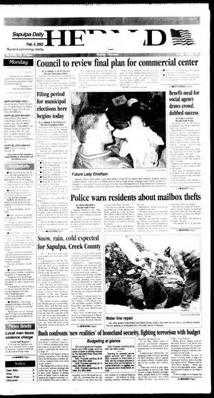 Primary view of Sapulpa Daily Herald (Sapulpa, Okla.), Vol. 87, No. 123, Ed. 1 Monday, February 4, 2002