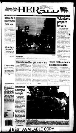 Primary view of Sapulpa Daily Herald (Sapulpa, Okla.), Vol. 88, No. 308, Ed. 1 Tuesday, September 9, 2003