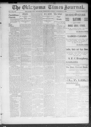 Primary view of object titled 'The Okahoma Times Journal. (Oklahoma City, Okla. Terr.), Vol. 5, No. 109, Ed. 1 Sunday, October 22, 1893'.