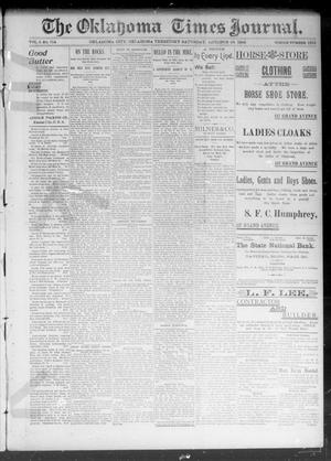 Primary view of object titled 'The Okahoma Times Journal. (Oklahoma City, Okla. Terr.), Vol. 5, No. 114, Ed. 1 Saturday, October 28, 1893'.