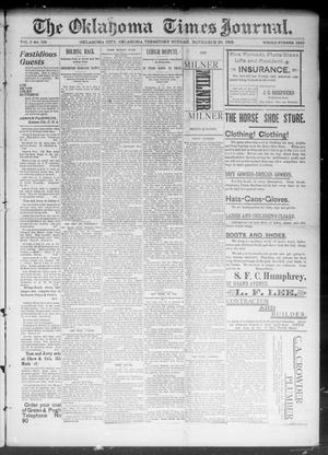 Primary view of object titled 'The Okahoma Times Journal. (Oklahoma City, Okla. Terr.), Vol. 5, No. 139, Ed. 1 Sunday, November 26, 1893'.