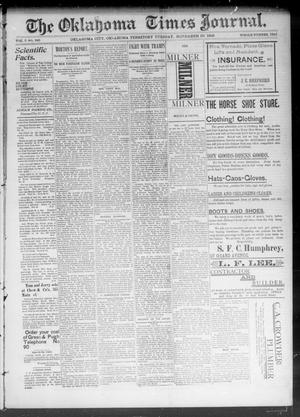 Primary view of object titled 'The Okahoma Times Journal. (Oklahoma City, Okla. Terr.), Vol. 5, No. 140, Ed. 1 Tuesday, November 28, 1893'.