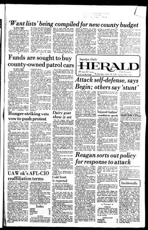 Primary view of Sapulpa Daily Herald (Sapulpa, Okla.), Vol. 67, No. 230, Ed. 1 Wednesday, June 10, 1981
