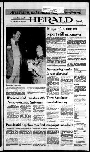 Primary view of Sapulpa Daily Herald (Sapulpa, Okla.), Vol. 73, No. 145, Ed. 1 Monday, March 2, 1987