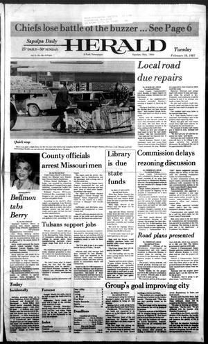 Primary view of Sapulpa Daily Herald (Sapulpa, Okla.), Vol. 73, No. 128, Ed. 1 Tuesday, February 10, 1987