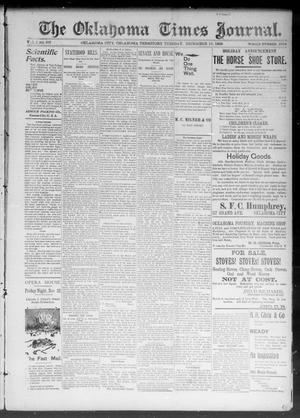 Primary view of object titled 'The Okahoma Times Journal. (Oklahoma City, Okla. Terr.), Vol. 5, No. 157, Ed. 1 Tuesday, December 19, 1893'.