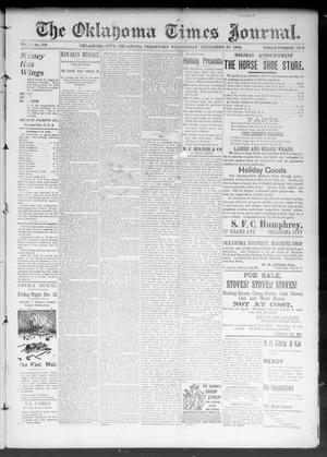Primary view of object titled 'The Okahoma Times Journal. (Oklahoma City, Okla. Terr.), Vol. 5, No. 158, Ed. 1 Wednesday, December 20, 1893'.