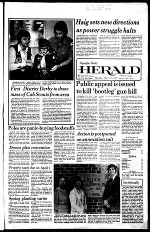 Primary view of Sapulpa Daily Herald (Sapulpa, Okla.), Vol. 67, No. 165, Ed. 1 Thursday, March 26, 1981