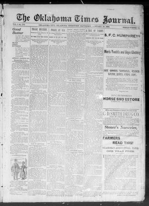 Primary view of object titled 'The Okahoma Times Journal. (Oklahoma City, Okla. Terr.), Vol. 5, No. 180, Ed. 1 Saturday, January 13, 1894'.