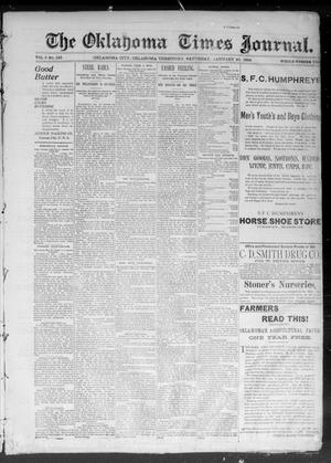 Primary view of object titled 'The Okahoma Times Journal. (Oklahoma City, Okla. Terr.), Vol. 5, No. 186, Ed. 1 Saturday, January 20, 1894'.