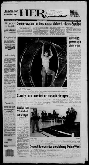 Primary view of Sapulpa Daily Herald (Sapulpa, Okla.), Vol. 88, No. 199, Ed. 1 Monday, May 5, 2003