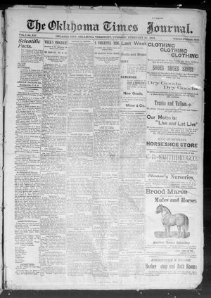 Primary view of object titled 'The Okahoma Times Journal. (Oklahoma City, Okla. Terr.), Vol. 5, No. 212, Ed. 1 Tuesday, February 20, 1894'.