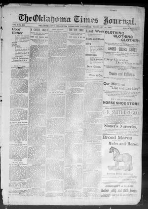 Primary view of object titled 'The Okahoma Times Journal. (Oklahoma City, Okla. Terr.), Vol. 5, No. 216, Ed. 1 Saturday, February 24, 1894'.