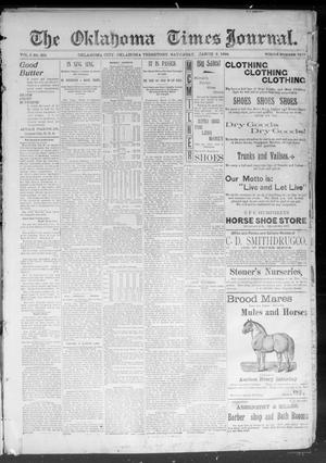 Primary view of object titled 'The Okahoma Times Journal. (Oklahoma City, Okla. Terr.), Vol. 5, No. 221, Ed. 1 Saturday, March 3, 1894'.