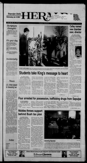 Primary view of Sapulpa Daily Herald (Sapulpa, Okla.), Vol. 88, No. 76, Ed. 1 Wednesday, January 8, 2003