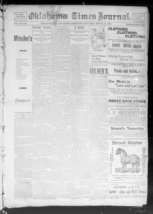 Primary view of object titled 'Okahoma Times Journal. (Oklahoma City, Okla. Terr.), Vol. 5, No. 239, Ed. 1 Saturday, March 24, 1894'.