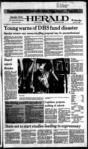 Primary view of Sapulpa Daily Herald (Sapulpa, Okla.), Vol. 72, No. 189, Ed. 1 Wednesday, April 23, 1986