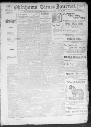 Primary view of object titled 'Okahoma Times Journal. (Oklahoma City, Okla. Terr.), Vol. 5, No. 247, Ed. 1 Tuesday, April 3, 1894'.