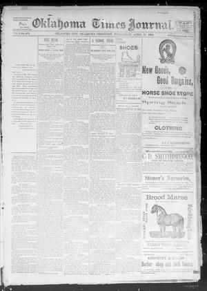 Primary view of object titled 'Okahoma Times Journal. (Oklahoma City, Okla. Terr.), Vol. 5, No. 254, Ed. 1 Wednesday, April 11, 1894'.