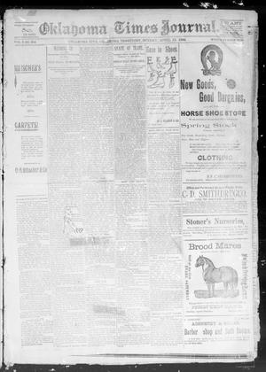 Primary view of object titled 'Okahoma Times Journal. (Oklahoma City, Okla. Terr.), Vol. 5, No. 258, Ed. 1 Sunday, April 15, 1894'.