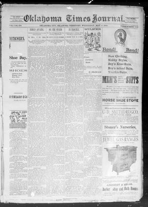 Primary view of object titled 'Okahoma Times Journal. (Oklahoma City, Okla. Terr.), Vol. 5, No. 277, Ed. 1 Wednesday, May 9, 1894'.