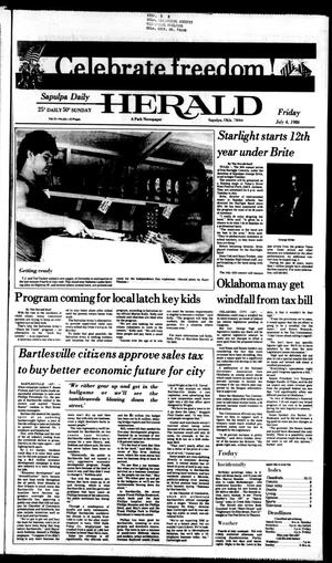 Primary view of Sapulpa Daily Herald (Sapulpa, Okla.), Vol. 72, No. 251, Ed. 1 Friday, July 4, 1986