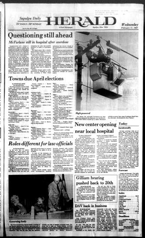 Primary view of Sapulpa Daily Herald (Sapulpa, Okla.), Vol. 73, No. 129, Ed. 1 Wednesday, February 11, 1987