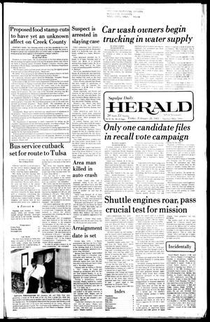 Primary view of Sapulpa Daily Herald (Sapulpa, Okla.), Vol. 67, No. 136, Ed. 1 Friday, February 20, 1981
