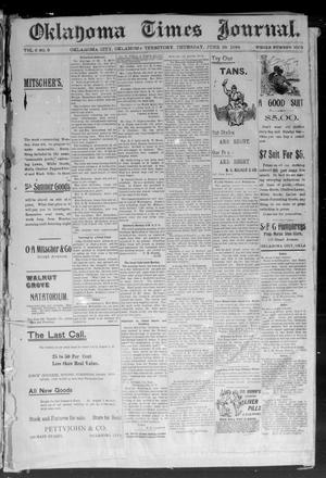 Primary view of object titled 'Okahoma Times Journal. (Oklahoma City, Okla. Terr.), Vol. 6, No. 9, Ed. 1 Thursday, June 28, 1894'.