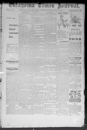 Primary view of object titled 'Okahoma Times Journal. (Oklahoma City, Okla. Terr.), Vol. 6, No. 22, Ed. 1 Saturday, July 14, 1894'.