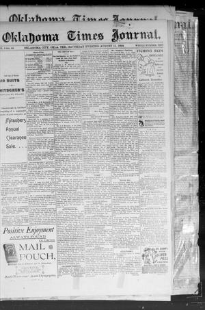Primary view of object titled 'Okahoma Times Journal. (Oklahoma City, Okla. Terr.), Vol. 6, No. 46, Ed. 1 Saturday, August 11, 1894'.