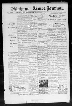 Primary view of object titled 'Okahoma Times Journal. (Oklahoma City, Okla. Terr.), Vol. 6, No. 65, Ed. 1 Saturday, September 1, 1894'.