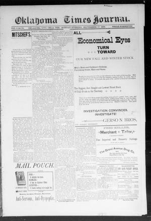 Primary view of object titled 'Okahoma Times Journal. (Oklahoma City, Okla. Terr.), Vol. 6, No. 78, Ed. 1 Monday, September 17, 1894'.
