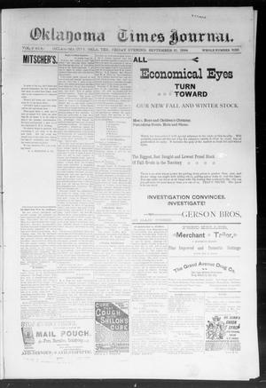Primary view of object titled 'Okahoma Times Journal. (Oklahoma City, Okla. Terr.), Vol. 6, No. 82, Ed. 1 Friday, September 21, 1894'.