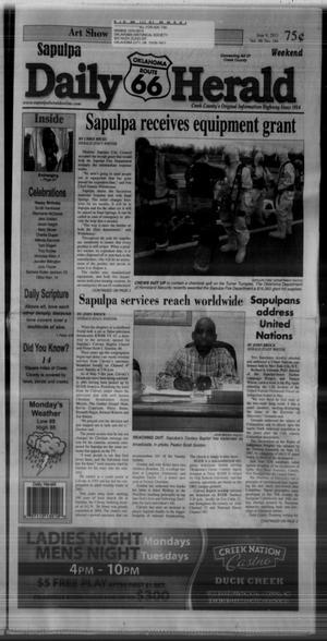 Primary view of Sapulpa Daily Herald (Sapulpa, Okla.), Vol. 98, No. 184, Ed. 1 Sunday, June 9, 2013