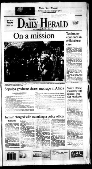 Primary view of Sapulpa Daily Herald (Sapulpa, Okla.), Vol. 92, No. 210, Ed. 1 Friday, July 13, 2007