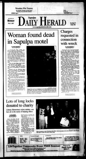 Primary view of Sapulpa Daily Herald (Sapulpa, Okla.), Vol. 92, No. 74, Ed. 1 Monday, February 5, 2007