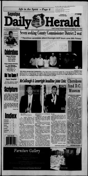 Primary view of Sapulpa Daily Herald (Sapulpa, Okla.), Vol. 101, No. 187, Ed. 1 Friday, June 10, 2016