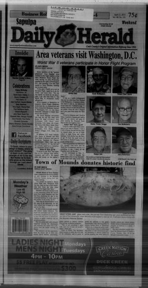Primary view of object titled 'Sapulpa Daily Herald (Sapulpa, Okla.), Vol. 98, No. 152, Ed. 1 Sunday, April 21, 2013'.
