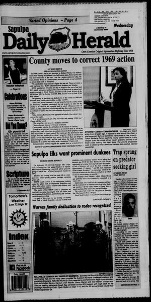 Primary view of Sapulpa Daily Herald (Sapulpa, Okla.), Vol. 100, No. 248, Ed. 1 Wednesday, September 2, 2015